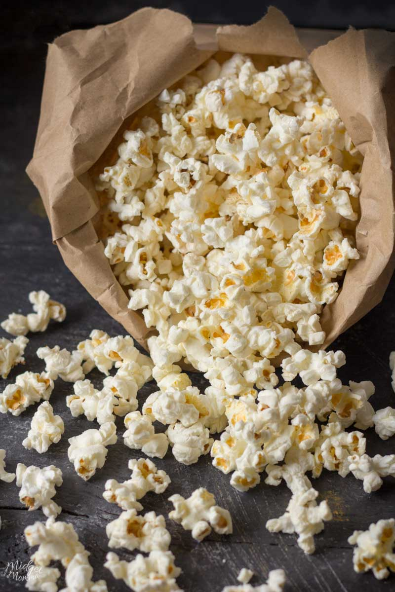 homemade popcorn made in the microwave