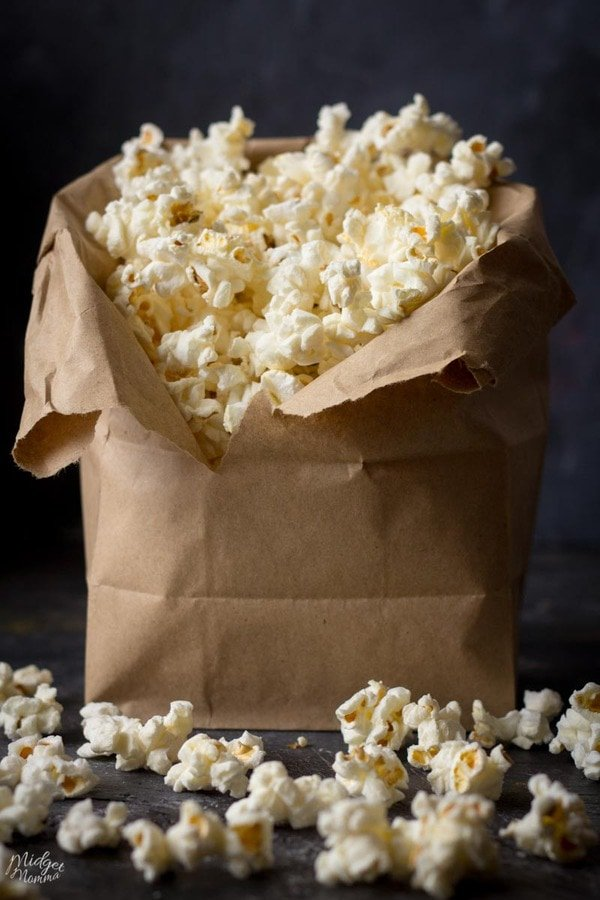homemade microwave popcorn in a brown bag