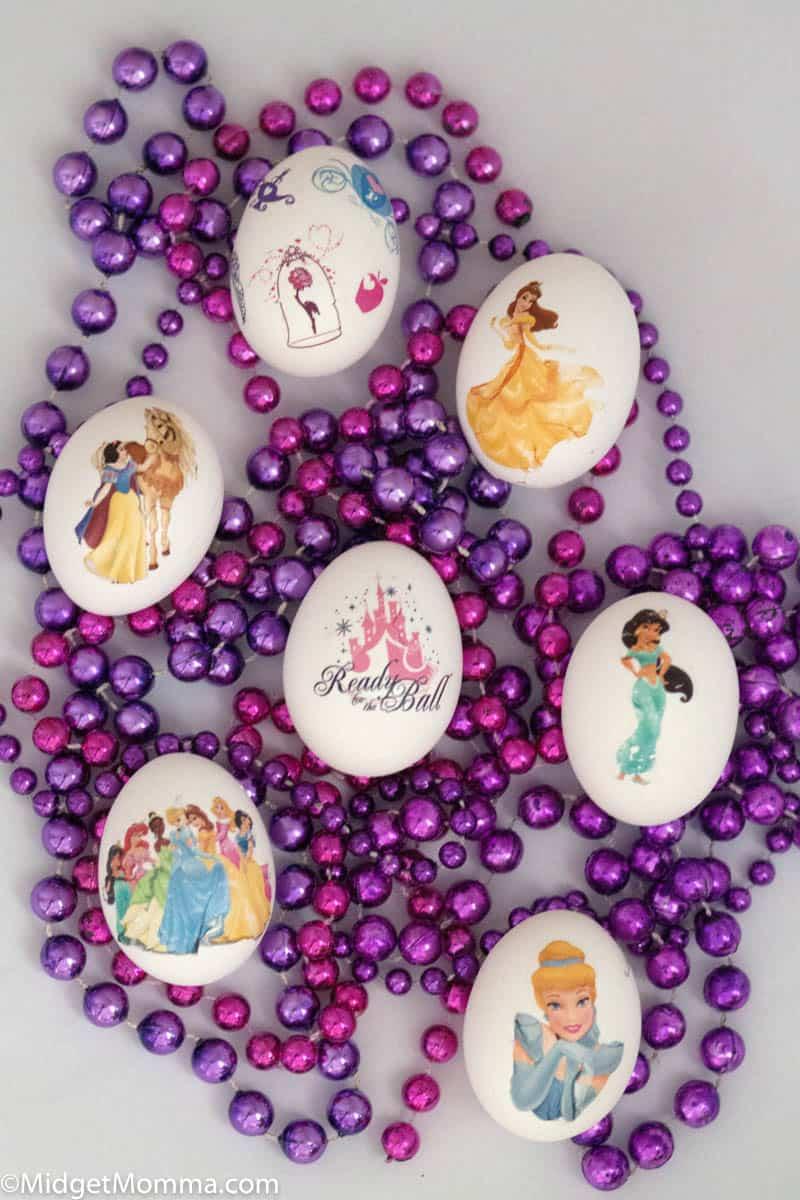 Mess Free Egg decorating using temporary tattoos- hardboiled eggs decorated with disney princess temporary tattoos