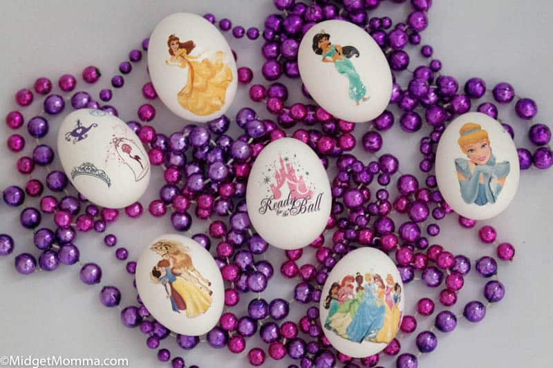 Easter eggs decorated with Disney princess temporary tattoos