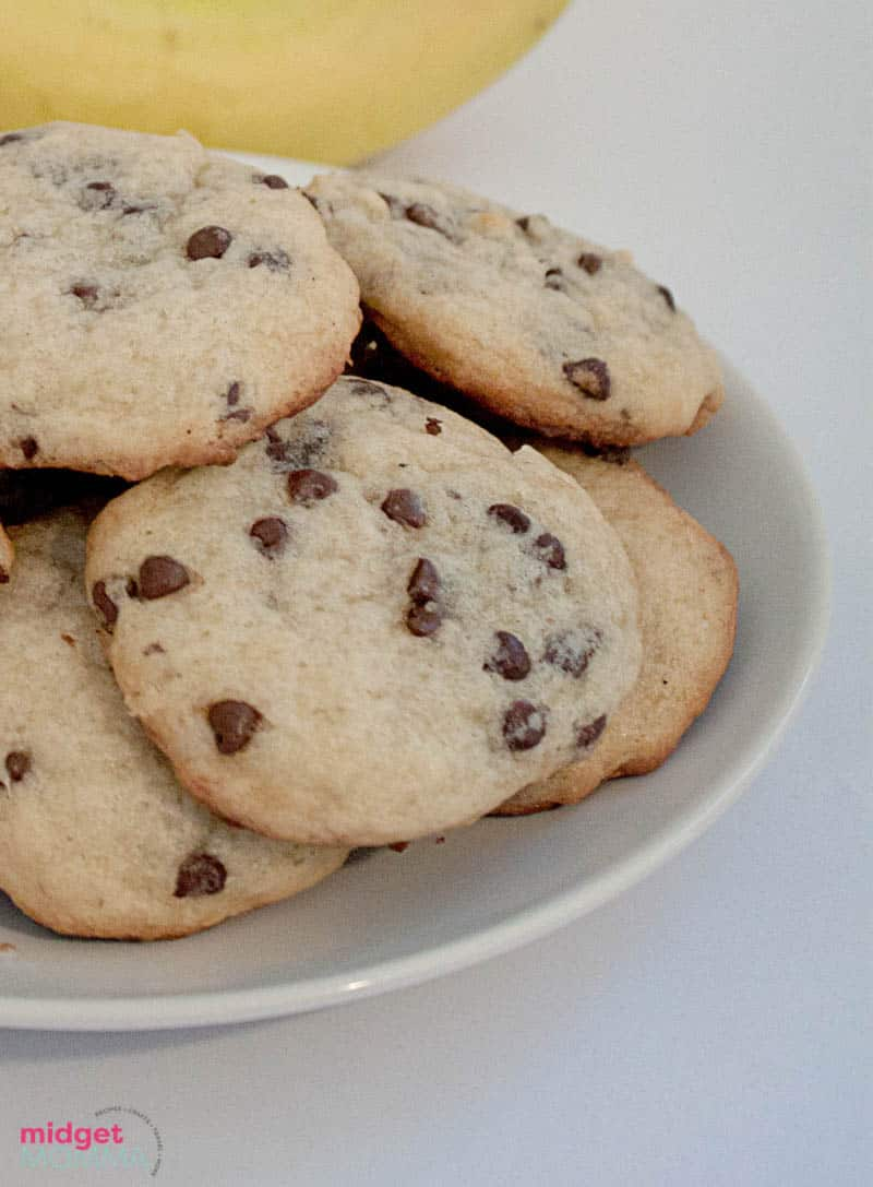 banana chocolate chip cookies with no eggs recipe on a plate close up photo
