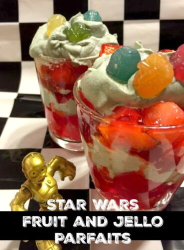 Star Wars fruit and Jello Parfaits. Easy to make plus use homemade whipped cream so you can color it to the color you want to match. Star Wars Party food, Star Wars cupcakes, Star wars snacks, star wars themed cupcake, star wars themed food.