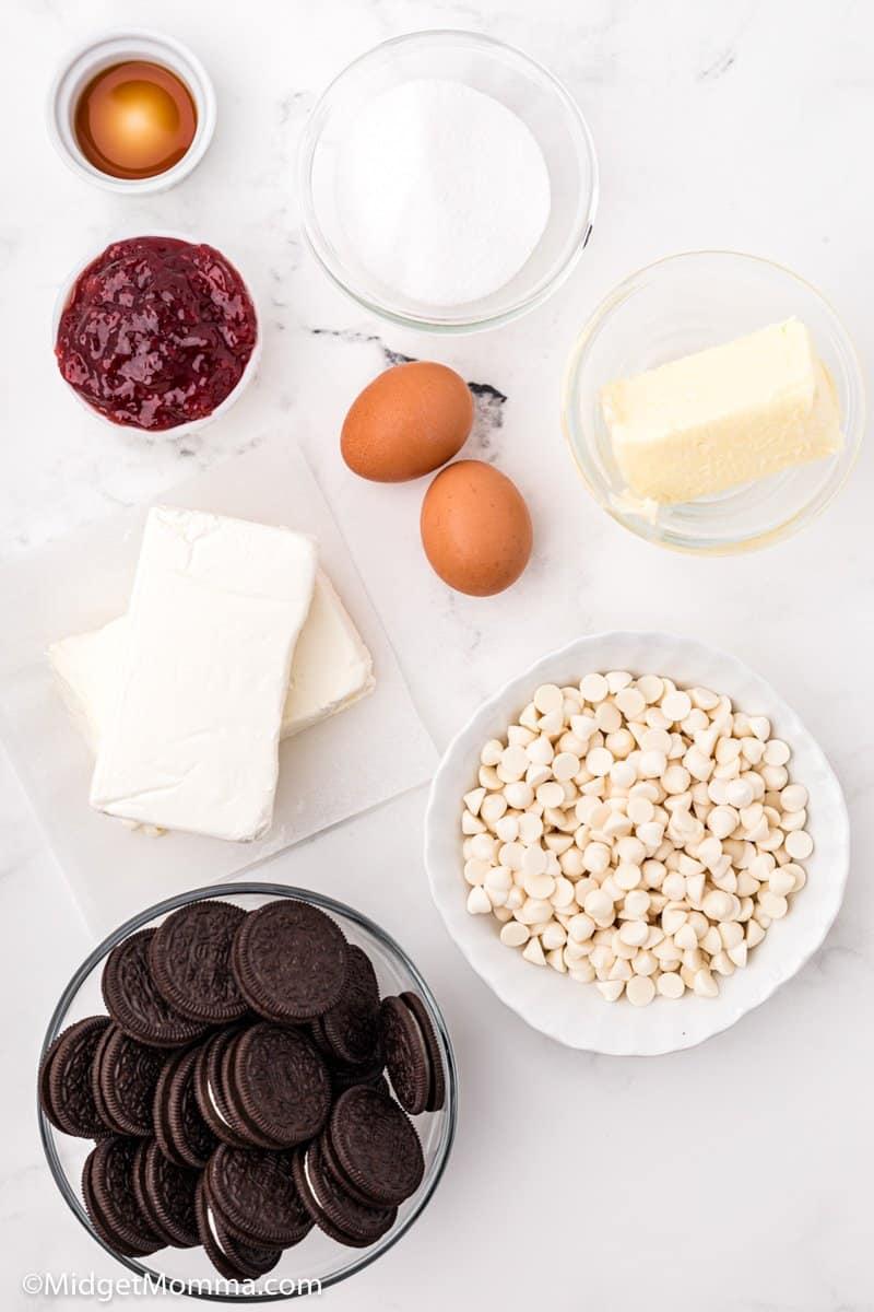 Strawberry White Chocolate Cheesecake Bars ingredients