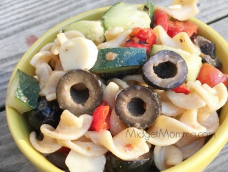 Pasta Salad Made with Wish-Bone Extra Virgin Olive Oil Salad Dressing. Easy to make pasta salad with Wish-bone salad dressing and your favorite veggies