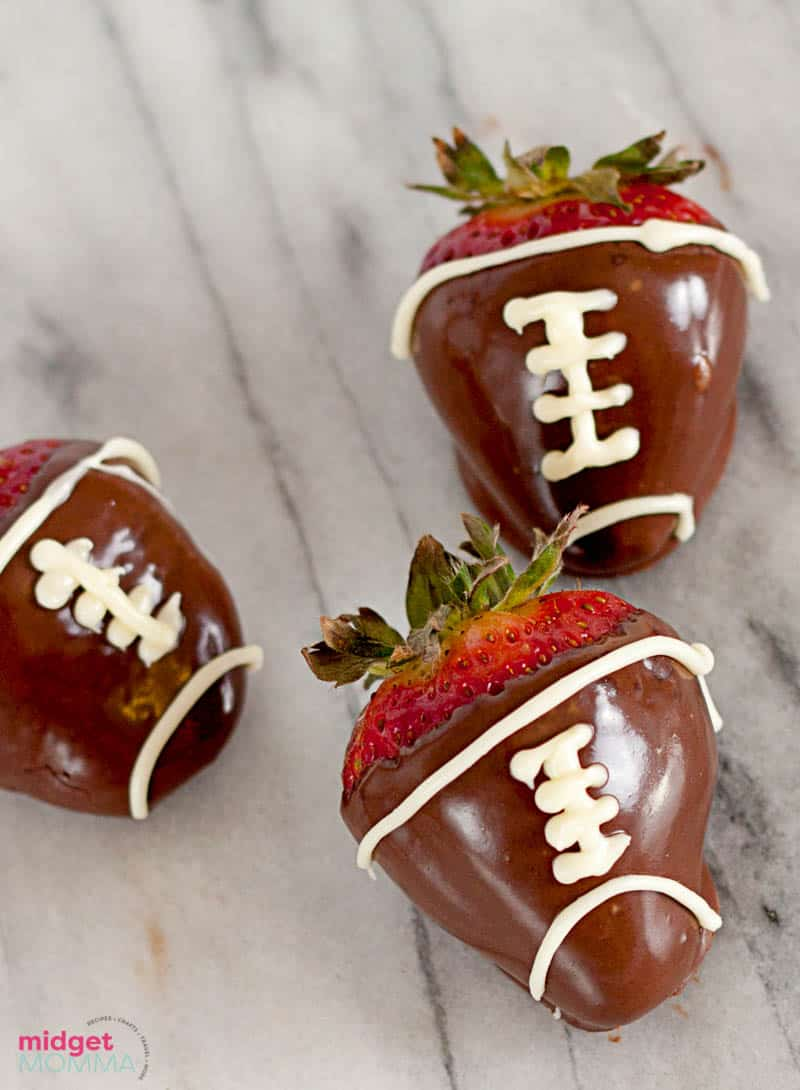 Football chocolate covered strawberries