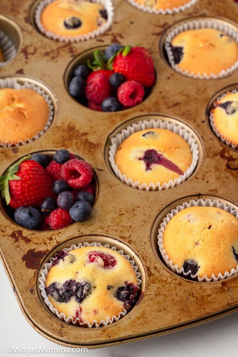 muffin tin with Triple Berry Muffins