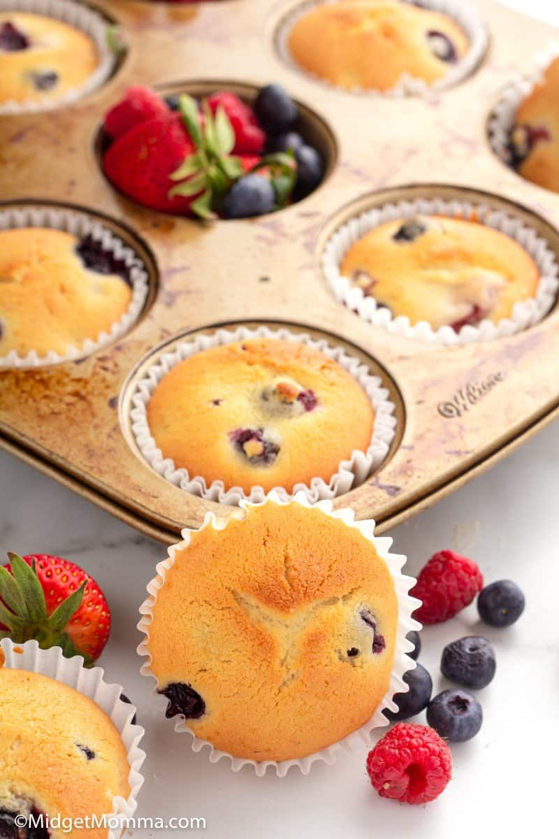close up photo of Triple Berry Muffins
