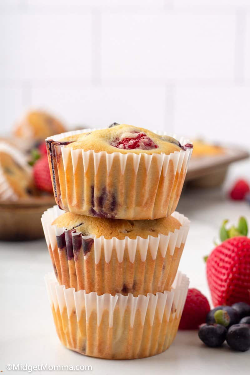3 Triple Berry Muffins stacked