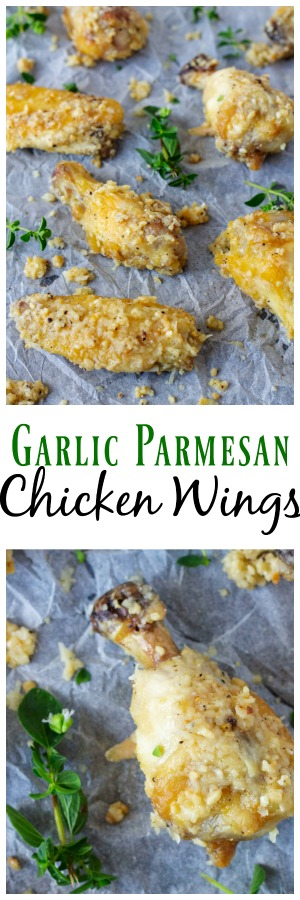 These easy Garlic Parmesan Chicken Wings are perfect to serve as an appetizer or a the main part of a meal. Oven baked chicken wings with a simple trick to make them perfect. These Garlic Parm chicken wings are done in about 30 minutes, so perfect for a quick and easy dinner or appetizer! #Chicken #ChickenWings #Garlic #Parmesan #BakedWings