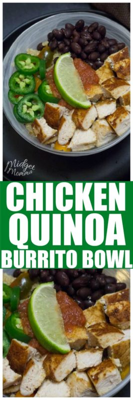 This Chicken Quinoa Burrito Bowl is a quick and easy chicken dinner. My whole family loves these chicken burrito bowls and being able to top them with their favorite burrito toppings. #Chicken #Burrito #BurritoBowl #ChickenBurrito #ChickenDinner