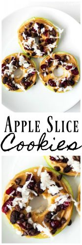 These No Bake Apple Cookies are a healthy snack that the kids will love. These Apple Slice cookies make for a great snack for after school, summer time and in the kids lunch boxes! #Apples #AppleSnack #SnackRecipe #PeanutbutterApples #PeanutButterAppleCookie
