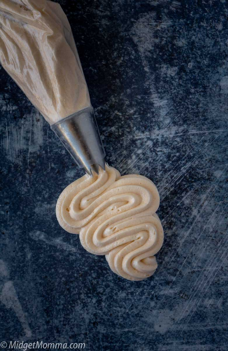 Caramel Buttercream Frosting in a piping bag