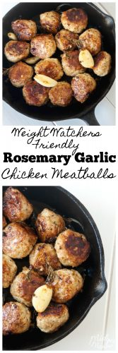 Weight Watchers Chicken Meatballs! An amazing chicken meatballs recipe - made with ground chicken, garlic and rosemary!Quick and easy to make for dinner! #Chicken #Dinner #recipe #EasyRecipe #ChickenRecipe #WeightWatchers #WeightWatcherRecipe #WeightWatchersDinner
