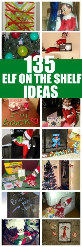 135 Easy Elf on the Shelf Ideas! Never be stuck on what to do with your Elf on the shelf! #ElfontheShelf #ElfIdeas #ElfontheShelfIdeas #EasyElfIdeas