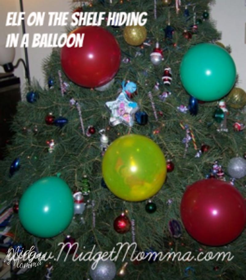 Easy Elf on the Shelf Ideas - elf hiding in a balloon