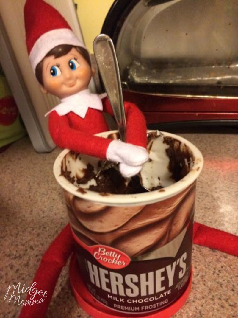 Quick Elf on the Shelf Ideas - Elf on the shelf with a jar of frosting