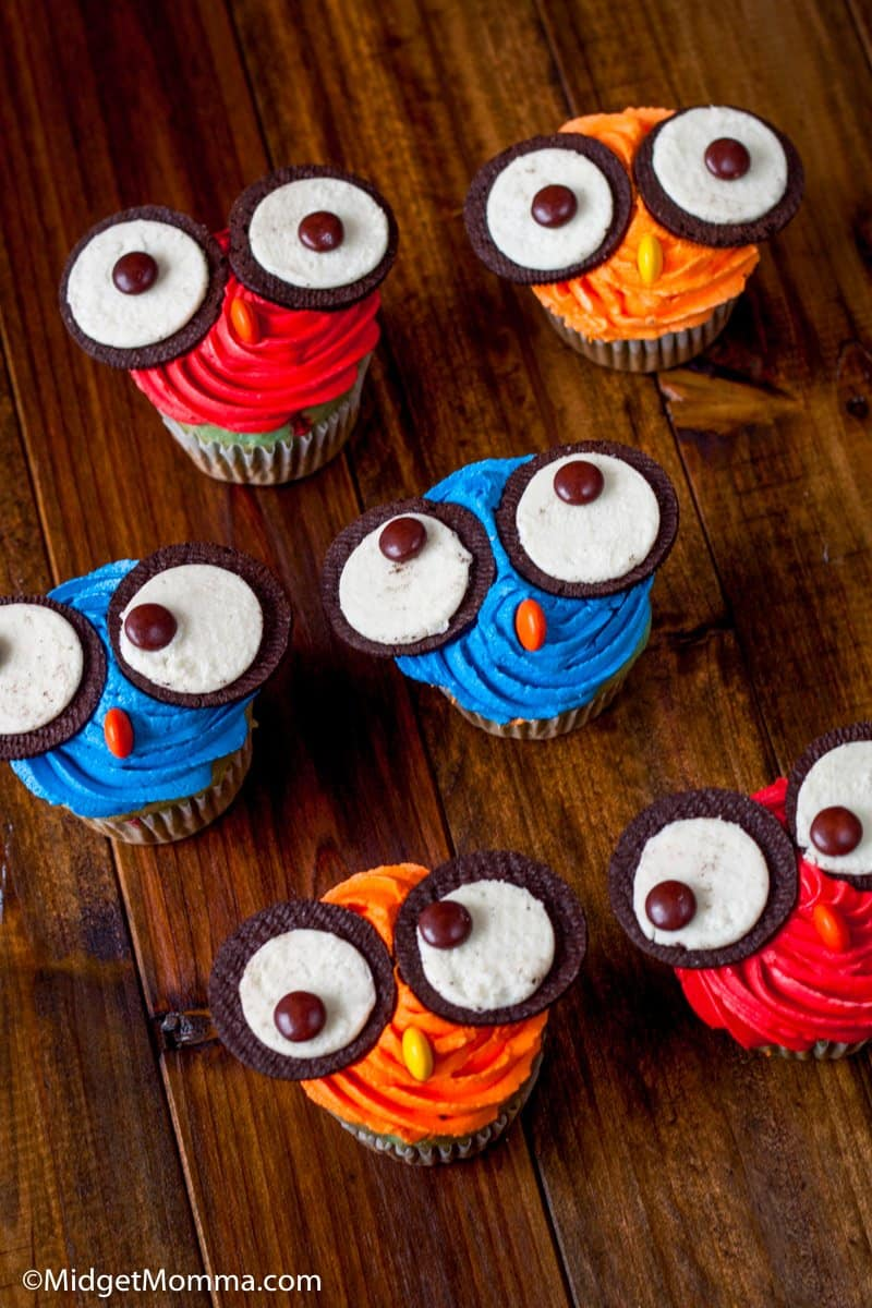 Owl cupcakes made with Oreo Cookies