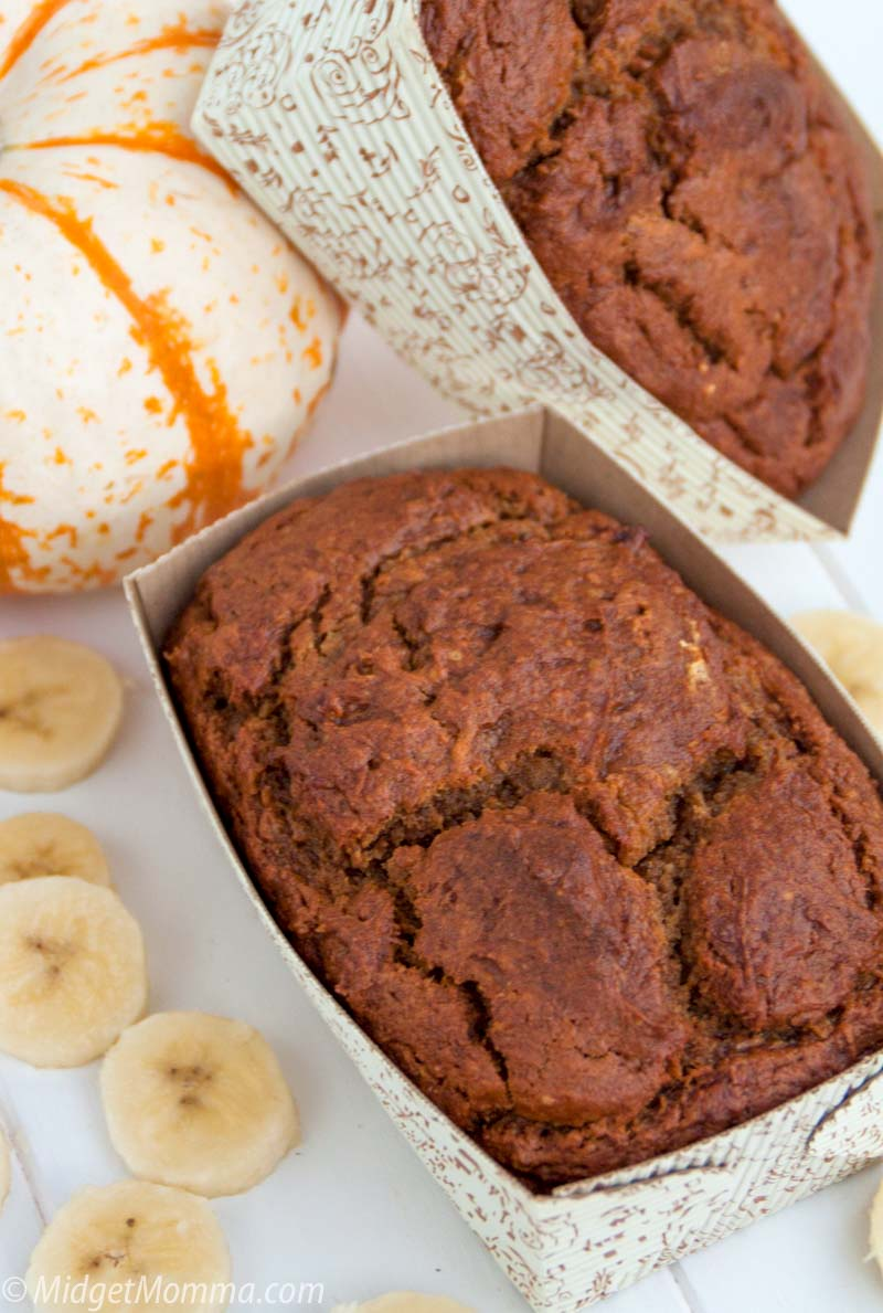 Pumpkin Banana Bread loaves in a baking pan