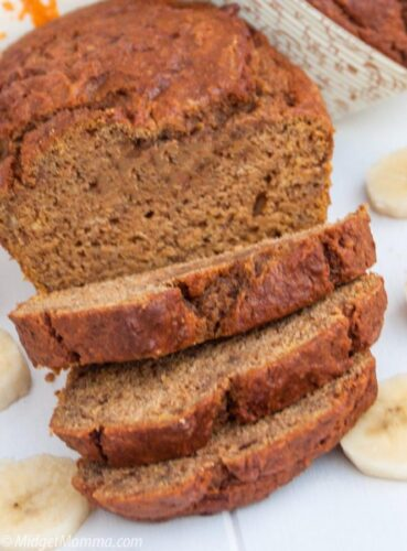 slices of homemade banana pumpkin bread
