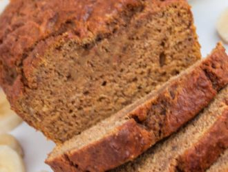 pumpkin banana bread sliced and ready to eat