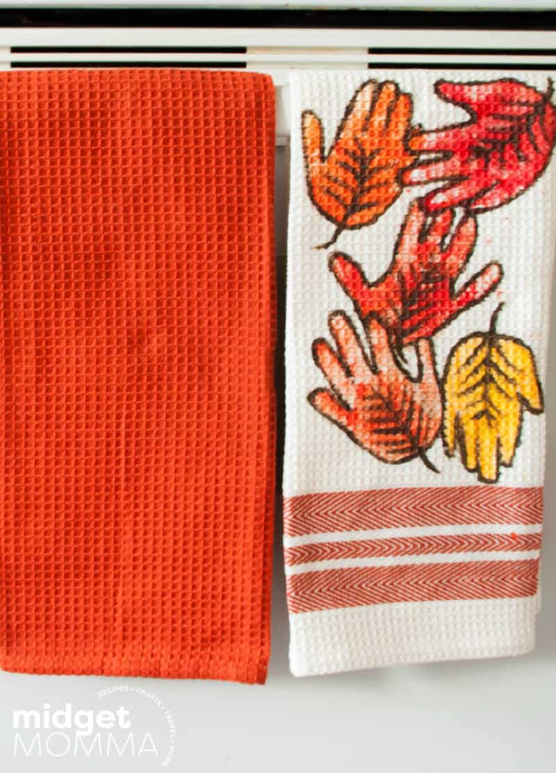 falling leaves handprint towel