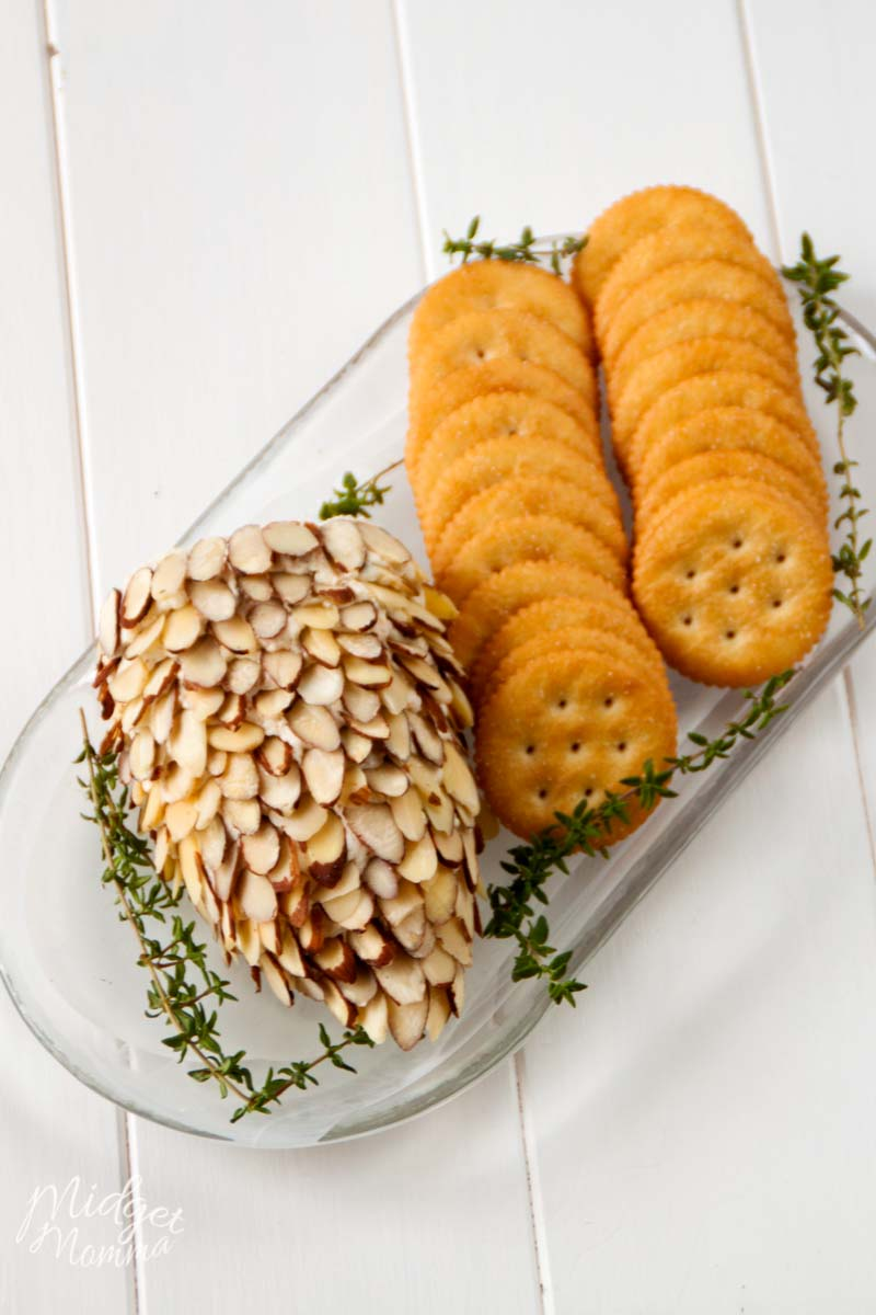 pinecone cheese ball on a platter