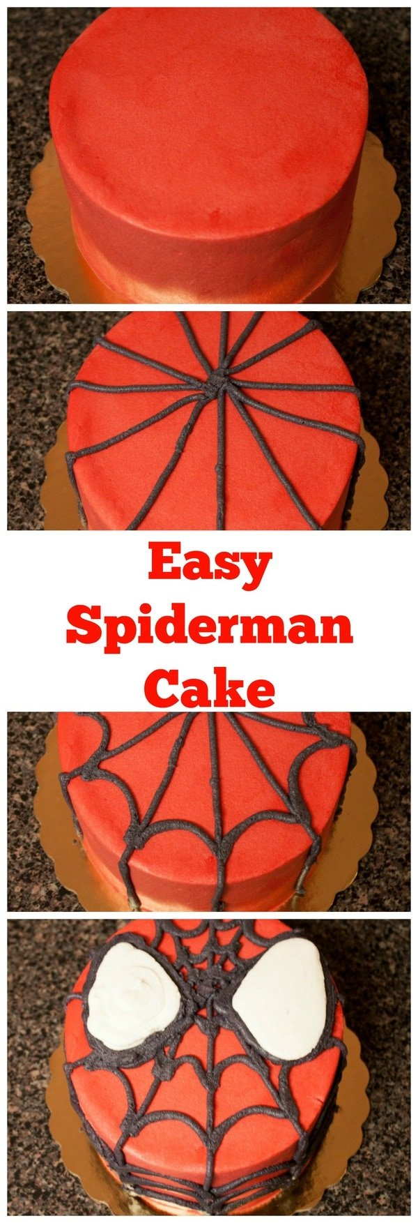 DIY Spiderman Cake with Homemade cake and Frosting MidgetMomma
