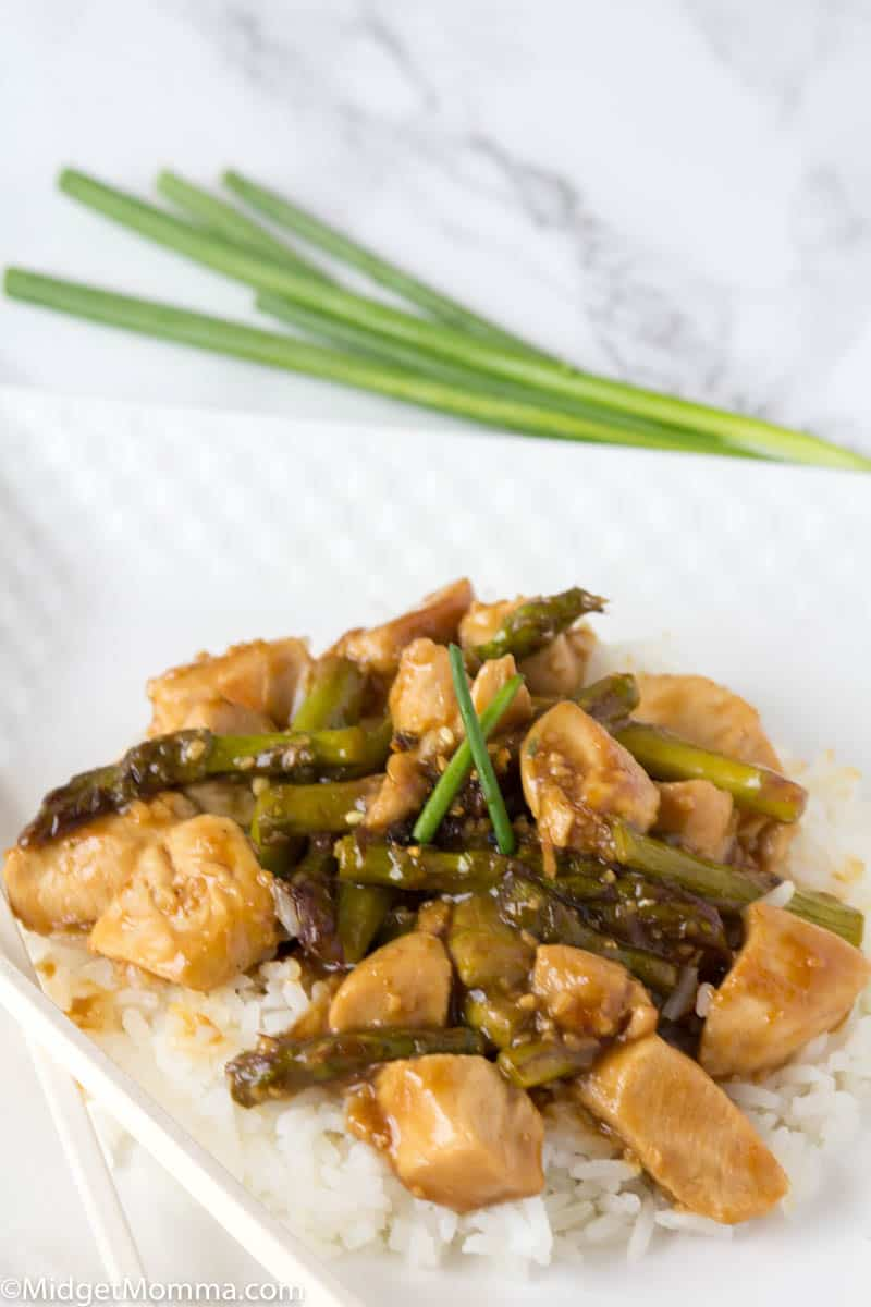 Chicken Stir fry on a white plate