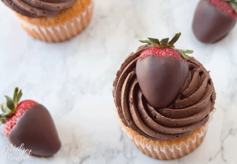 chocolate covered strawberry cupcakes. Strawberry cupcakes with homemade chocolate buttercream topped with chocolate covered strawberries.
