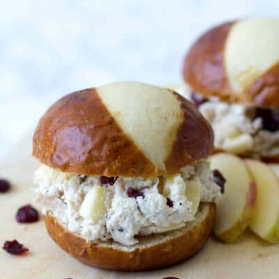 Chicken Salad with Apples on a bakery roll