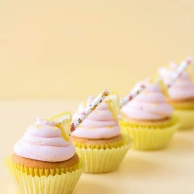 Strawberry Lemonade Cupcakes with Pink Lemonade Buttercream Frosting