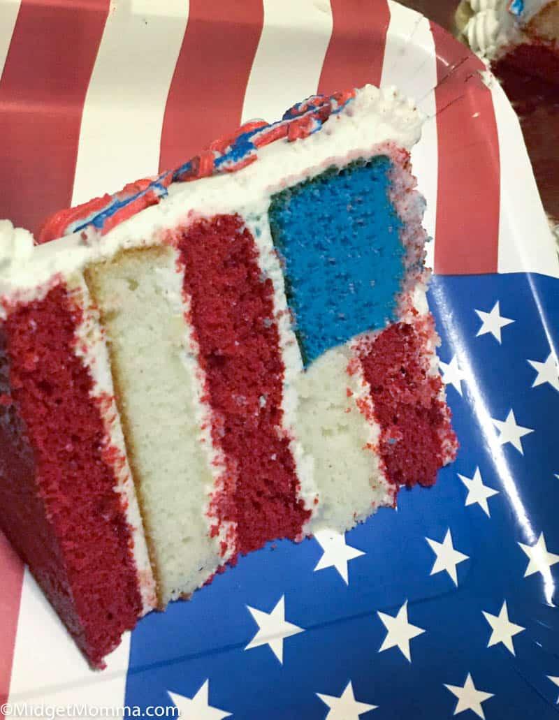 slice of American Flag Cake