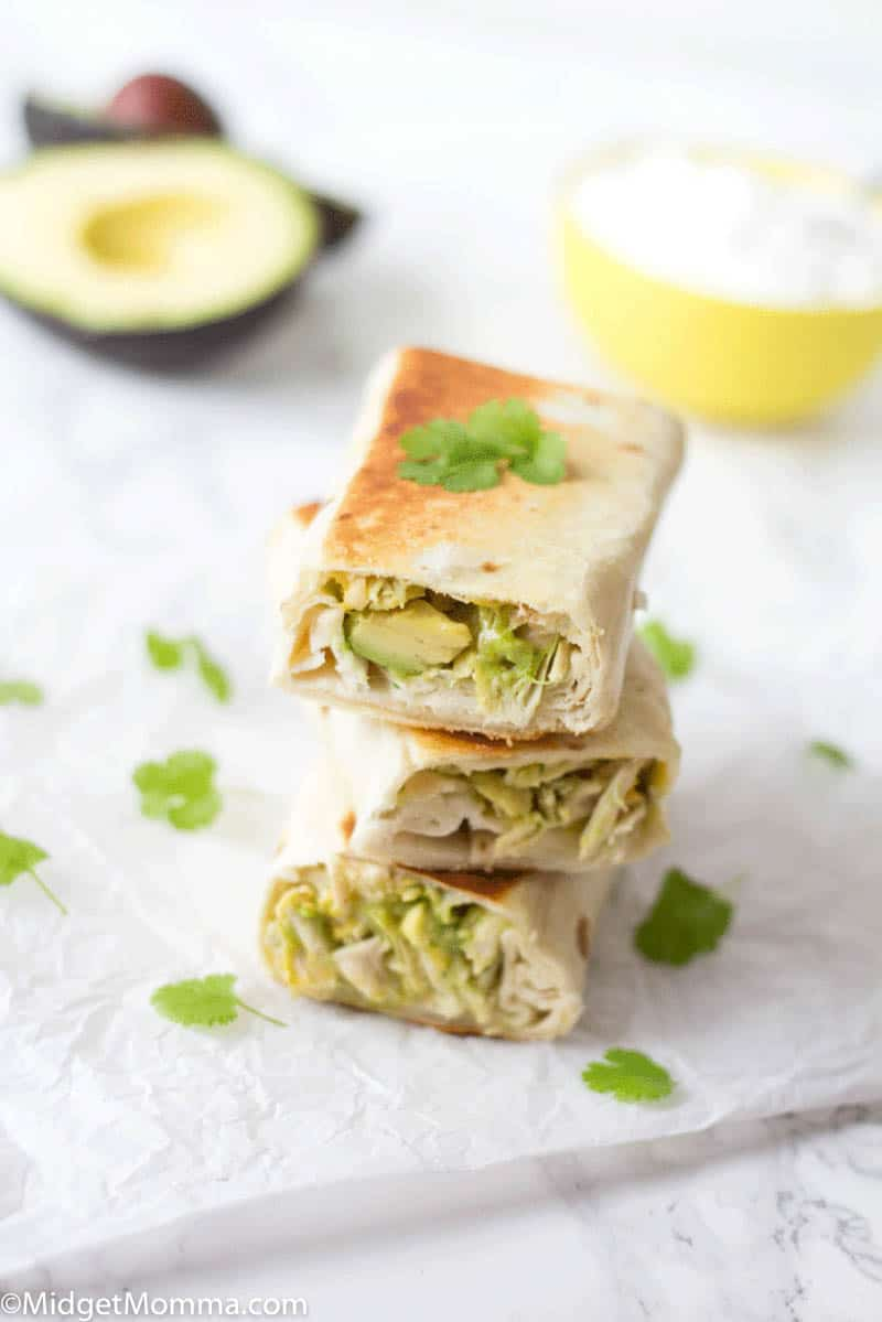 Chicken and Avocado Burrito are a simple but tasty lunch or dinner that is perfect for summer! With jsut 5 ingredients these Chicken Avocado burritos are perfect for a quick and easy meal!