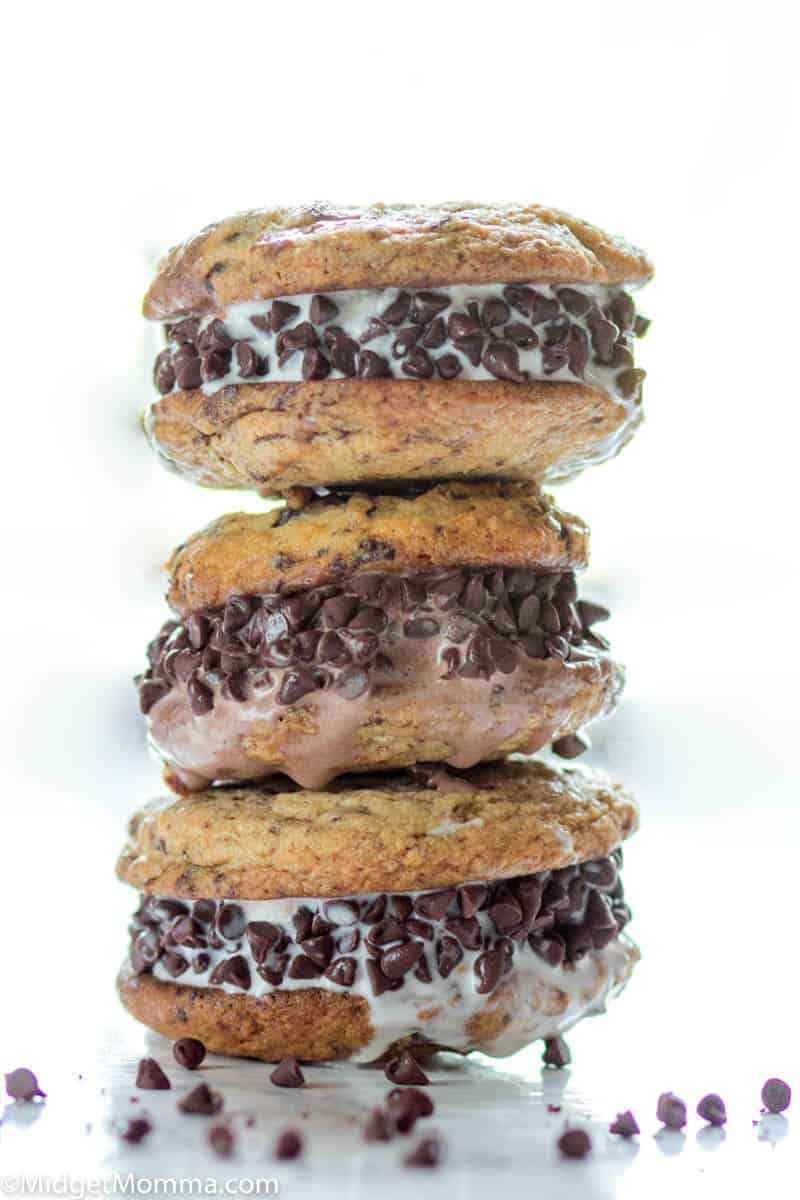 Stack of 3 Chocolatee chip cookie ice cream sandwiches