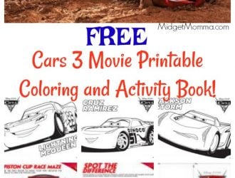 FREE Cars 3 Movie Printable Coloring Pages and Activity Book!