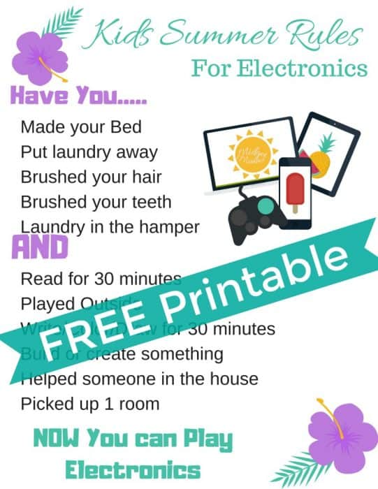 image regarding Summer Rules Printable named Small children Summertime Suggestions for Enjoying Electronics Printable