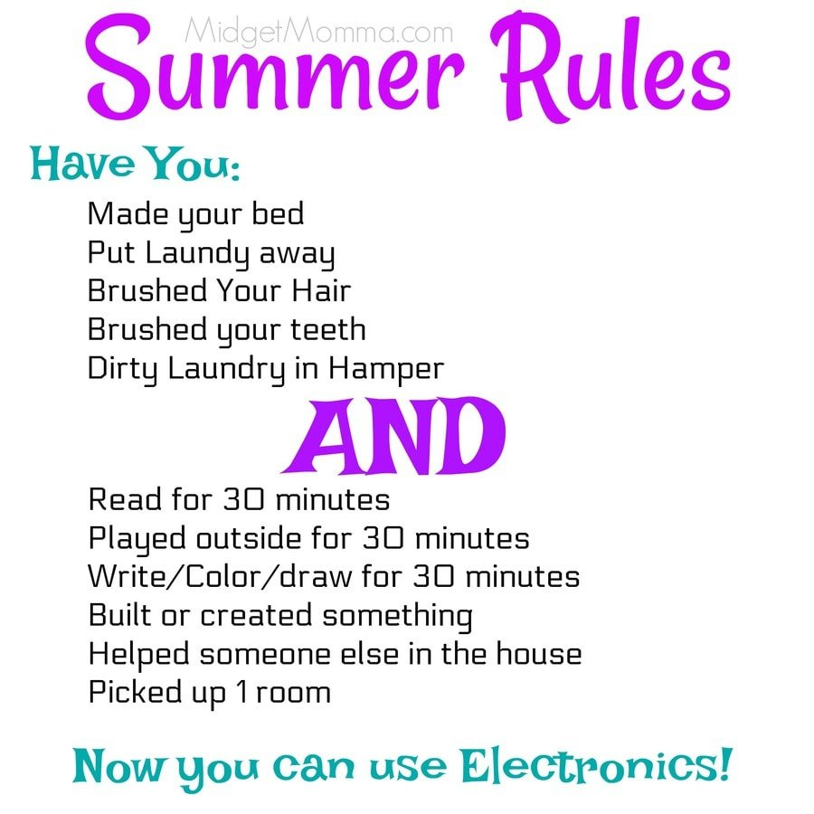 Kids Summer Rules For Playing Electronics Printable