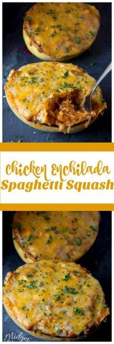 Amazing Chicken Enchilada Spaghetti Squash dinner. Low carb Chicken Enchilada recipe that is bursting with flavor. Easy to make Chicken Spaghetti Squash dinner. #Chicken #Enchilada #Recipe #SpaghettiSquash