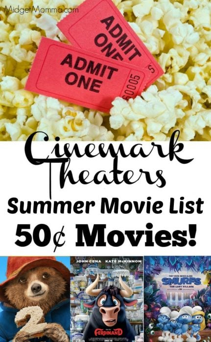 Cinemark Summer movies. See movies all summer long for only 50¢ per movie! #Movies #Summer #kids #Summerfun #Kidsactivities