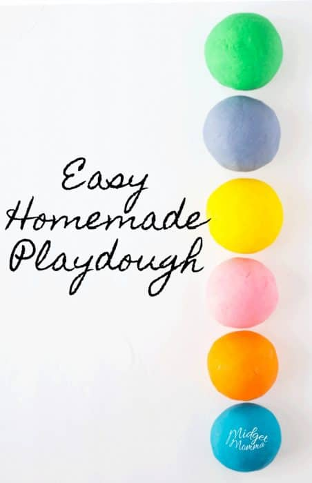 easy homemade playdough recipe. This homemade playdough is so much fun to make with the kids! The kids will love making this diy playdough in the colors that they pick! #playdough #diy #craftsforkids