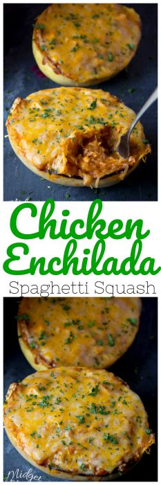 Amazing Chicken Enchilada Spaghetti Squash dinner. Low carb Chicken Enchilada recipe that is bursting with flavor. Easy to make Chicken Spaghetti Squash dinner. #Chicken #Enchilada #Recipe #SpaghettiSquash