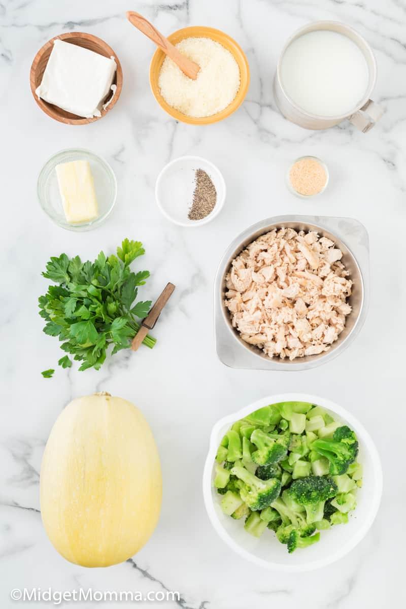 Chicken and Broccoli Alfredo Spaghetti Squash ingredients