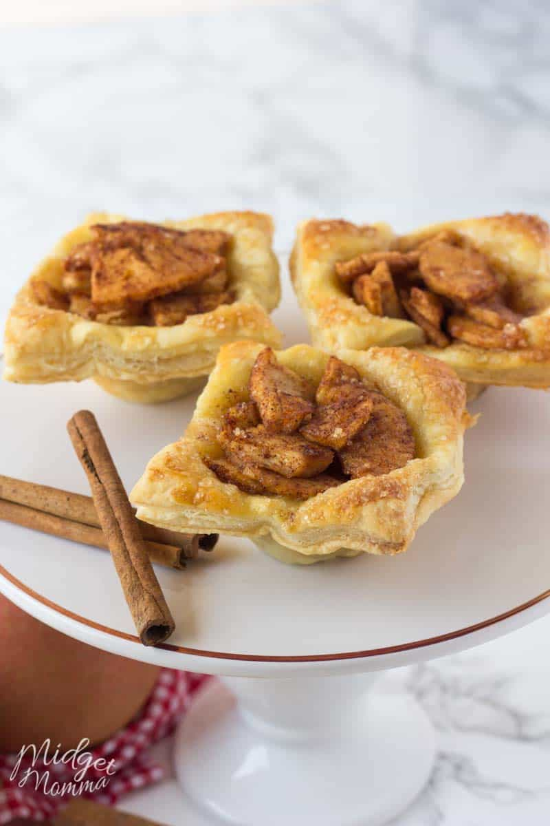 3 puff pastry apple pie on a dessert plate