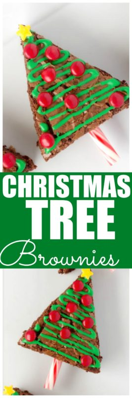 These Christmas Tree brownies are so easy to make! Plus do you see how totally adorable they are? This easy Christmas Dessert is perfect for making for parties because the icing hardens and they are easy to pack up and bring with you. #Christmas #ChristmasTree #ChristmasDessert #ChristmasBrownie #EasyChristmasDessert
