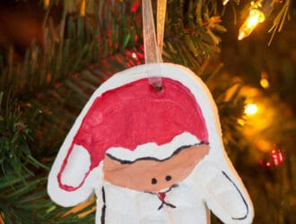 Kids Handprint Santa Ornament made with Air Dry Clay