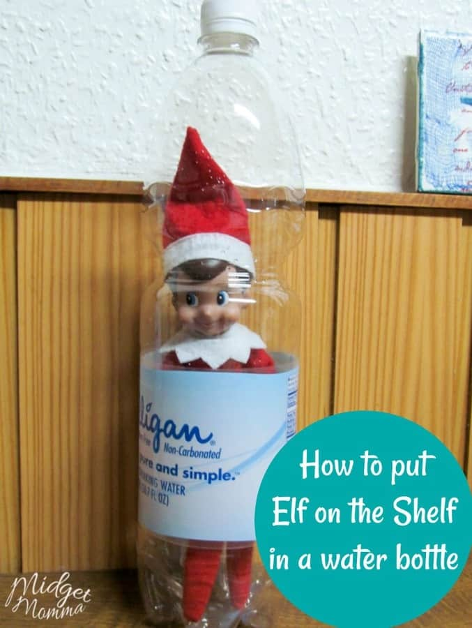 "Answer the question, ""Where's Elf on the Shelf?"" with this great idea for Hiding in the Water Bottle! It's so fun, easy, and kids will love it!"