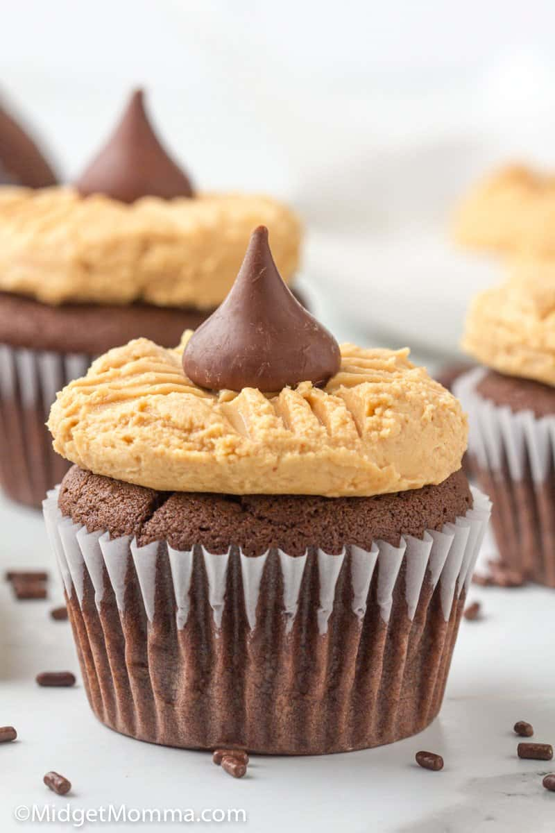 close up photo of Peanut Butter Blossom Cupcakes