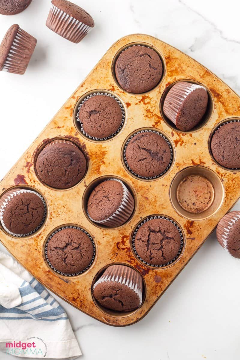 baked chocolate cupcakes in a cupcake tin