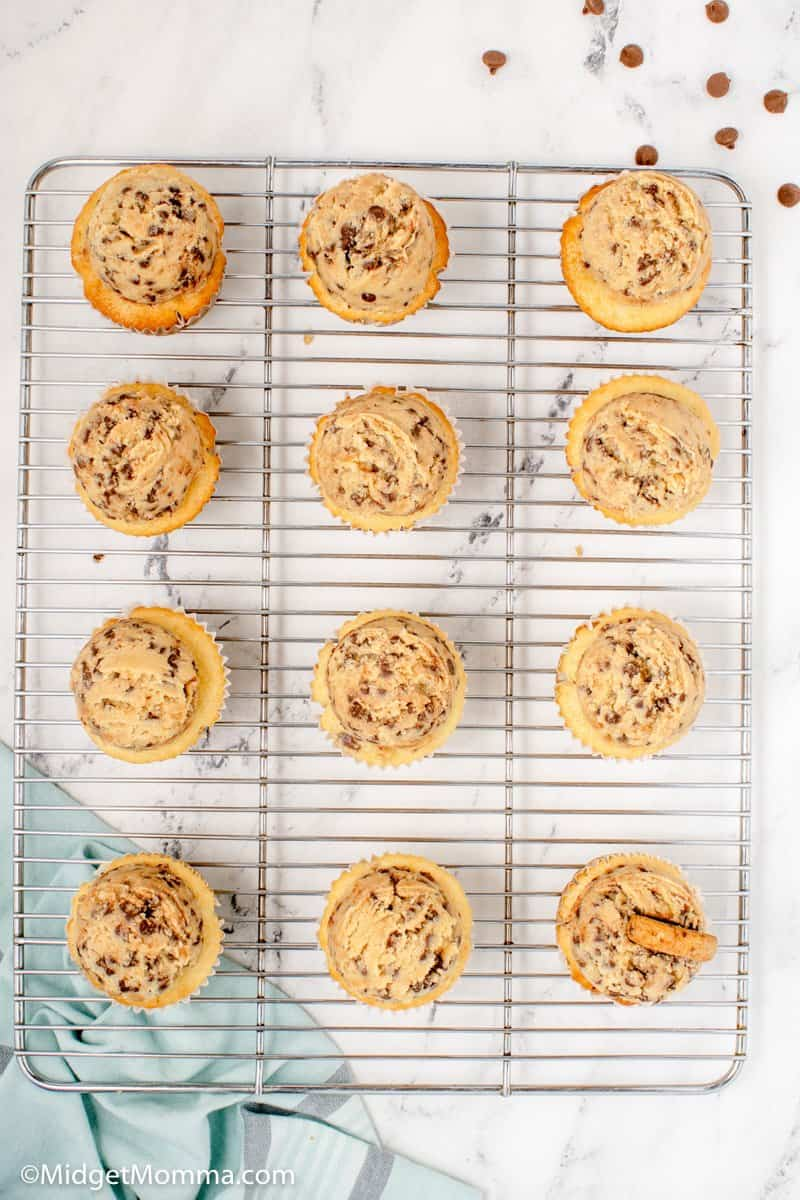 Chocolate Chip Cupcakes cooling on a baking rack