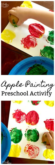 This Apple painting preschool activity is so much fun to do with the littles. Apple Painting craft that helps with motor skills in preschoolers.